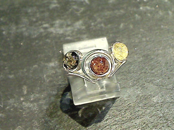 Size 8 Amber, Sterling Silver Ring