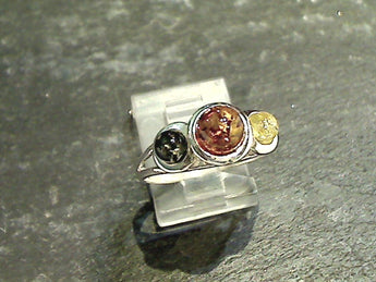 Size 8.75 Amber, Sterling Silver Ring
