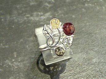 Size 7.25 Amber, Sterling Silver Ring