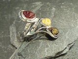 Size 5.5 Amber, Sterling Silver Long Ring