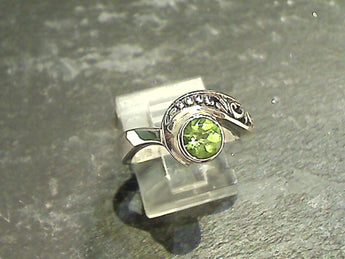 Size 9 Peridot, Sterling Silver Ring