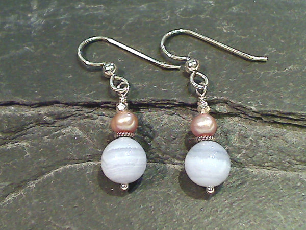 Blue Lace Agate, Pearl, Sterling Silver Earrings