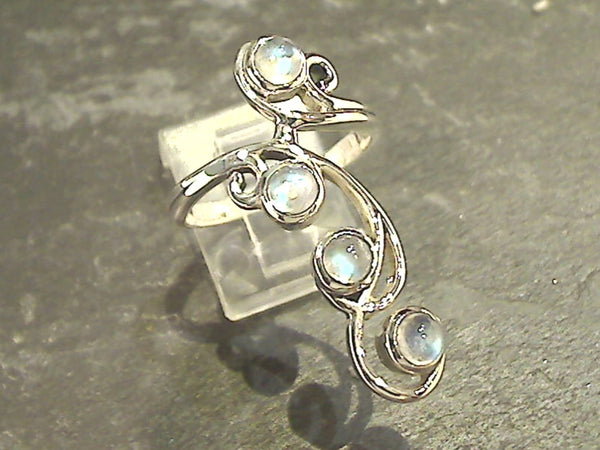 Size 9 Moonstone, Sterling Silver Long Ring