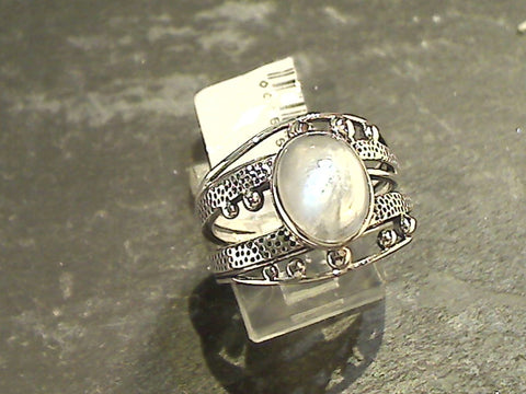 Size 9 Moonstone, Sterling Silver Ring