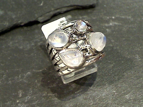 Size 7.5 Moonstone, Sterling Silver Ring