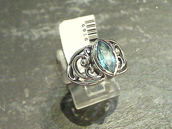 Size 8.75 Blue Topaz, Sterling Silver Ring