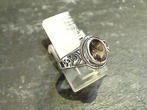 Size 7 Smokey Quartz, Sterling Silver Ring