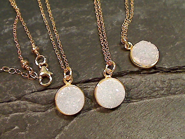 "16"" - 17"" Druzy Quartz, Gold Filled Necklace"