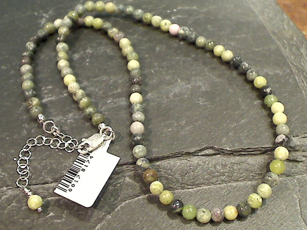 "16"" - 18"" Jasper, Sterling Silver Necklace"