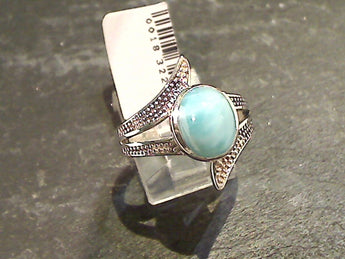 Size 10 Larimar, Sterling Silver Ring