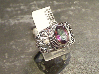 Size 9 Mystic Quartz, Sterling Silver Ring