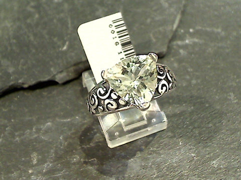 Size 8 Green Amethyst, Sterling Silver Ring