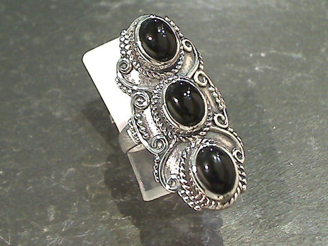 Size 7.75 Black Onyx, Sterling Silver Ring