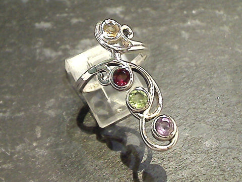 Size 8 Gemstones, Sterling Silver Ring