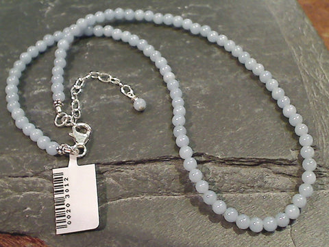 "15"" - 17"" Angelite, Sterling Silver Beaded Necklace"