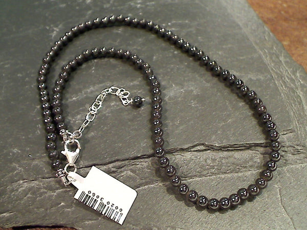 "15"" - 17"" Magnetic Hematite, Sterling Silver Necklace"