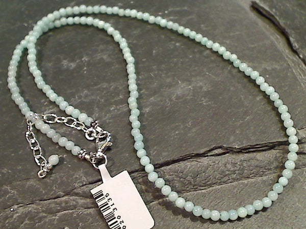 "20"" - 22"" Amazonite, Sterling Silver Necklace"