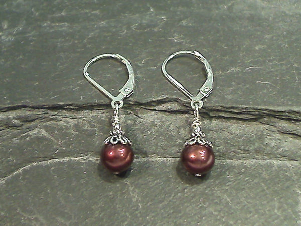 Bronze Pearl, Sterling Silver Earrings