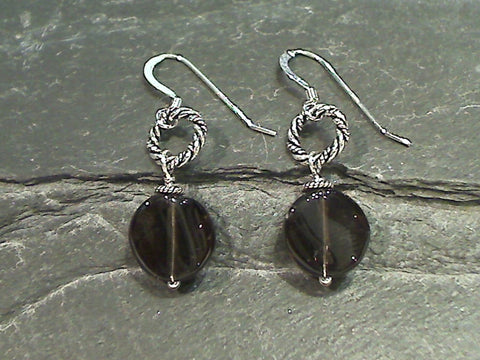 Smokey Quartz, Sterling Silver Earrings