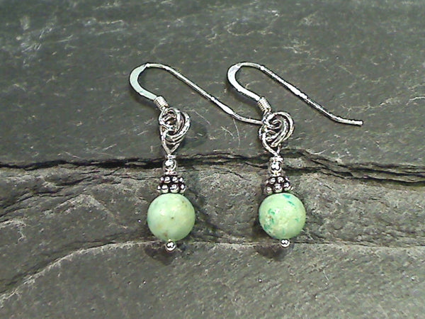 Green Turquoise, Sterling Silver Earrings
