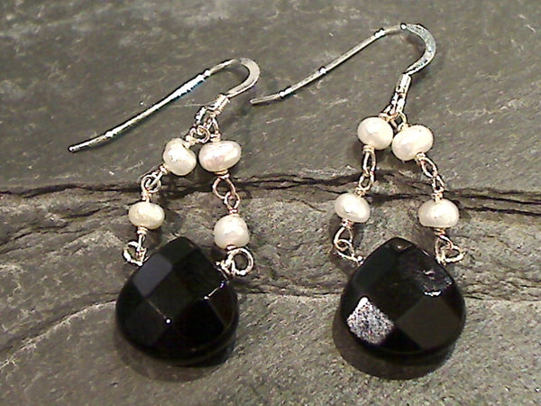 Black Onyx, Pearl, Sterling Silver Earrings