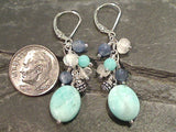 Amazonite, Moonstone, Kyanite, Sterling Silver Earrings