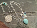 18'' - 19'' Amazonite, Moonstone, Kyanite, Sterling Silver Necklace