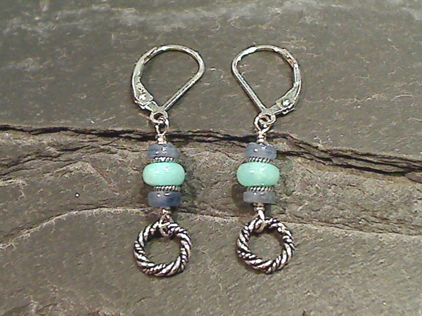 Amazonite, Kyanite, Sterling Silver Earrings