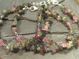 7'' Multi Color Tourmaline Chips, Sterling Silver Bracelet
