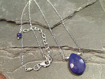 14'' - 16'' Lapis Lazuli, Sterling Silver Necklace