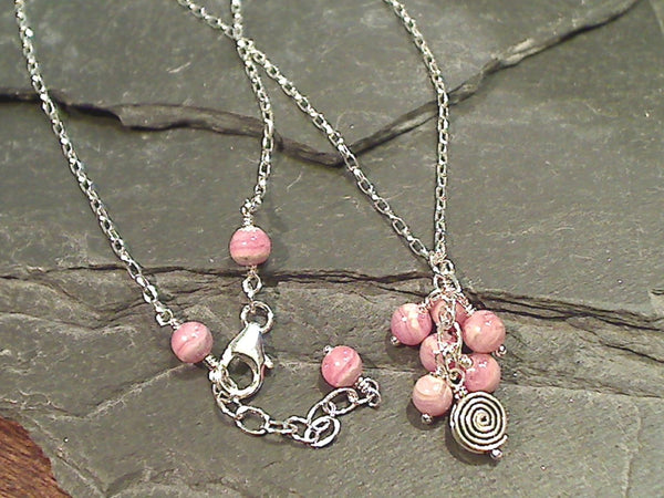 16'' - 17'' Rhodochrosite, Sterling Silver Necklace