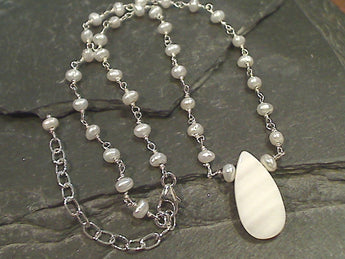 20'' - 22'' Pearl, Mother of Pearl, Sterling Silver Necklace