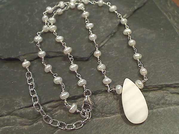 14'' - 16'' Pearl, Mother of Pearl, Sterling Silver Necklace