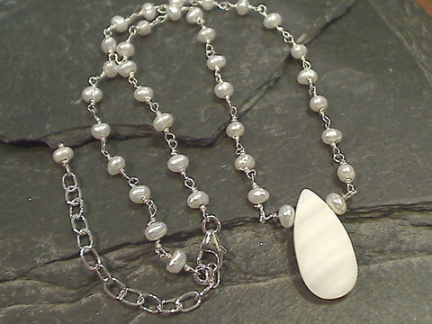 16'' - 18'' Pearl, Mother of Pearl, Sterling Silver Necklace