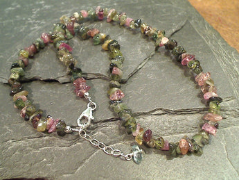 18'' - 19'' Multi Color Tourmaline Chips, Sterling Silver Necklace