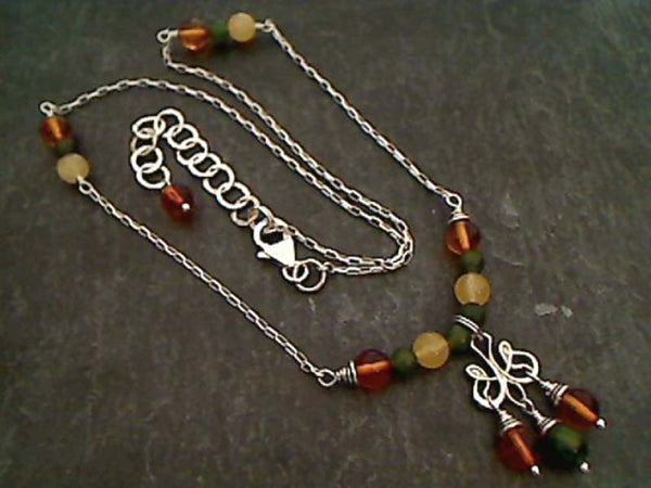 "Aventurine, Amber, Jade, .925 Necklace, 16""-18"""