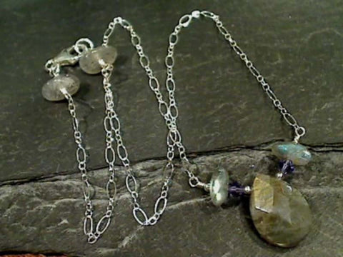 "16"" Labradorite, Crystal, Sterling Silver Necklace"