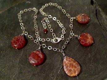 "Adj. to 18"" Fire Agate, Sterling Silver Necklace"