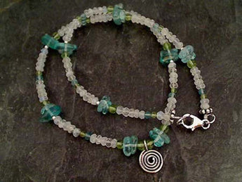 "16"" Moonstone, Apatite, Peridot, .925 Necklace"