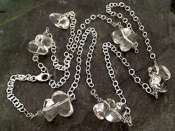 "Adj. to 34"" Clear Quartz, Sterling Silver Necklace"