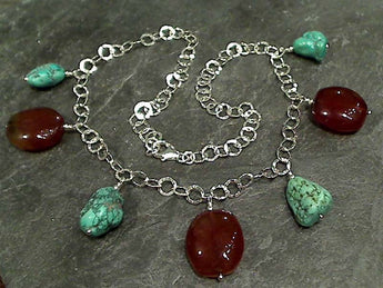 "18"" Turquoise, Agate, Sterling Silver Necklace"