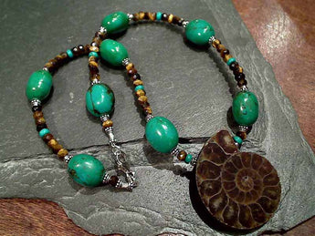 "16"" Turquoise, Ammonite, Tiger's Eye .925 Necklace"
