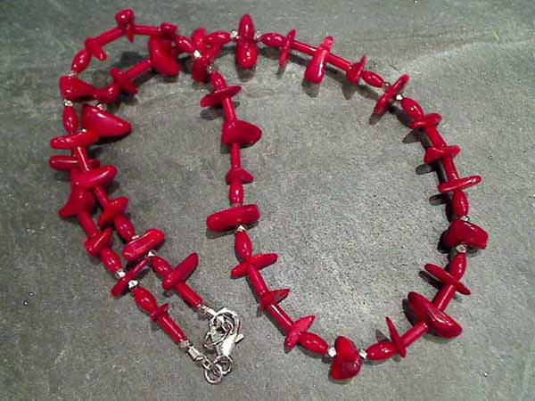"17"" Red Coral, Sterling Silver Necklace"