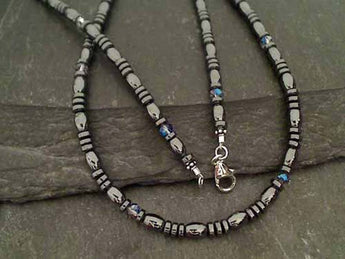 "20"" Hematite, Swarovski Crystal, .925 Necklace"