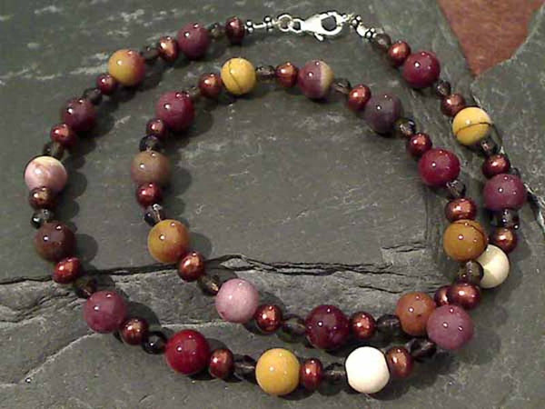 "19.5"" Mookaite, Pearl, Smokey Quartz Necklace"