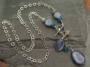 "16"" Kyanite, Labradorite, Apatite Toggle Necklace"
