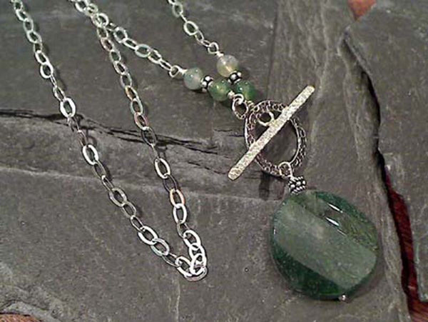 "16"" Moss Agate, Sterling Silver Toggle Necklace"