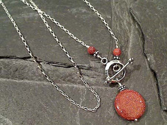 "18"" Goldstone, Sterling Silver Toggle Necklace"