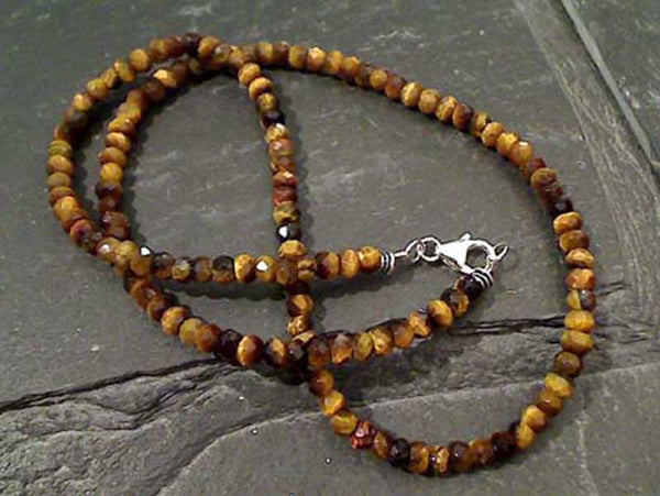 "18"" Tiger's Eye, Sterling Silver Beaded Necklace"