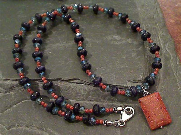 "18"" Goldstone, Swarovski Crystsl, .925 Necklace"